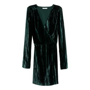 2/$150 - Crushed velvet green emerald dress